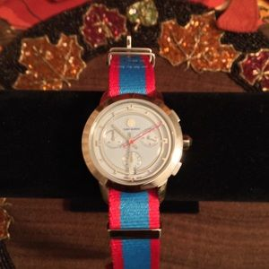 🆕 AUTHENTIC TORY BURCH CHRONOGRAPH RED/BLUE WATCH